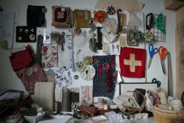 Studio; Inspiration board and on the sewing table