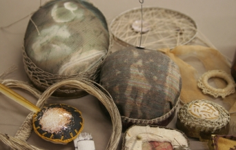 Selection of pincushions and jewellery pieces by Alys Power and Ruth Singer
