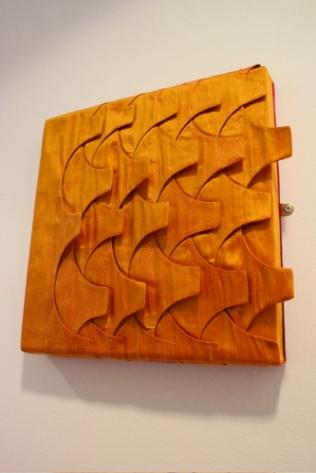 Tiles panel. 40x40cm deep-edged canvas. Layered silk. Was £300 now £100