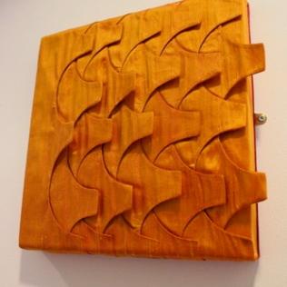 Tiles panel. 40x40cm deep-edged canvas. Layered silk.
