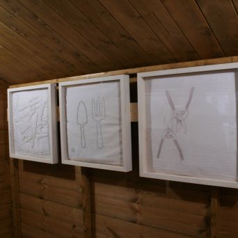 Tool Shed stitched artworks by Ruth Singer.