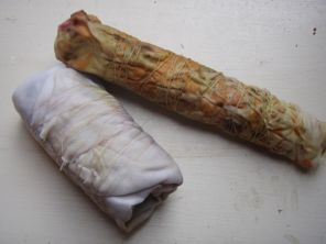 Bundles: silk with marigolds right. Cotton with hydrangea left