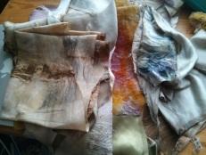 Boat bundles. Top left walnut + iron scrap. Bright yellow/ green is African marigold