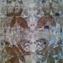 Eco print with leaves and flowers