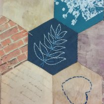 Rowan leaves to represent Rowan Ward. Hand embroidery.