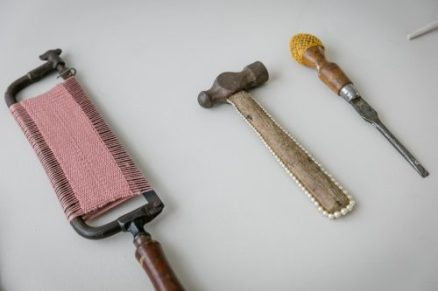 Decorated saw, hammer and screwdriver