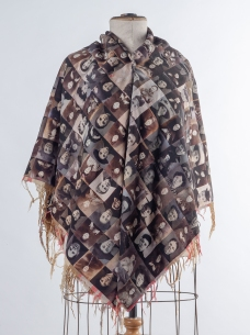 Shawl made from digitally-printed sepia photos on mannequin