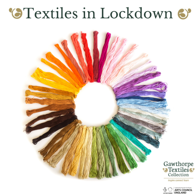Graphic with rainbow of threads in a circle shape with text Textiles in Lockdown and funders logos